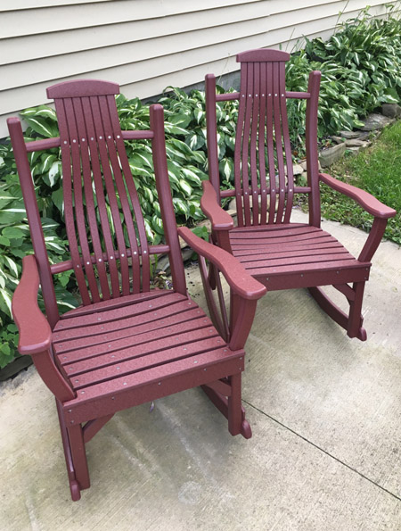 Set Of 2 Cherry Poly Rocking Chairs